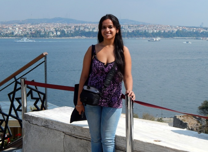 At the Topkapi Palace and the Prince Islands in my background.